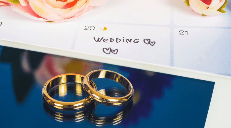 Wedding rings on the screen of a smartphone